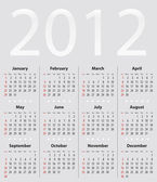Light gray calendar for 2012 — Stock Vector
