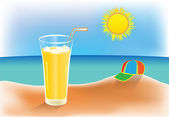 Warm summer day and icy juice — Stock Vector
