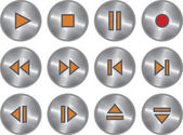 Vector set of metallic multimedia buttons — Stock Vector