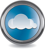 Brushed metal and chrome button with cloud — Stock Vector