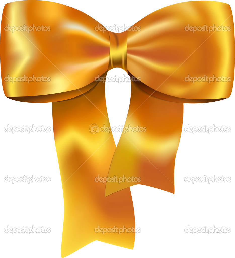 Nice golden bow for gifts and decorations. Vector illustration — Stock Vector #7474476