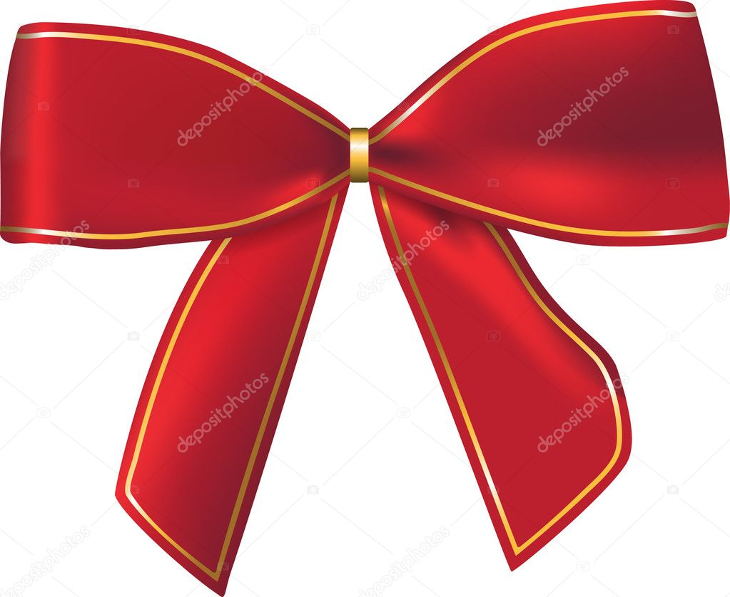 Nice red gift bow for celebration decorations and gift cards. Ribbon. Vector. Isolated on white background — Stock Vector #7474509