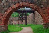 Castle moat and drawbridge — Stock Photo