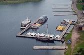 Molo z łodzie — Zdjęcie stockowe