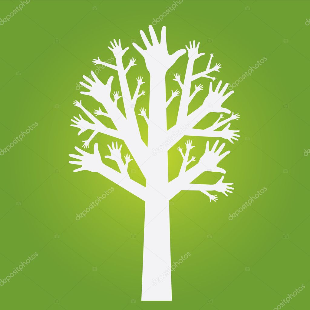 Hands tree on olive green background, Vector — Stock Vector #7715395