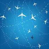 Uçak yolları ve yıldız — Stok Vektör