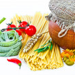 Royalty-Free Stock Photo: The composition of the pasta and vegetables on a white background