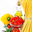 The composition of the pasta and vegetables on a white background — Stock Photo