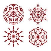 Red snowflake set. — Stock Vector