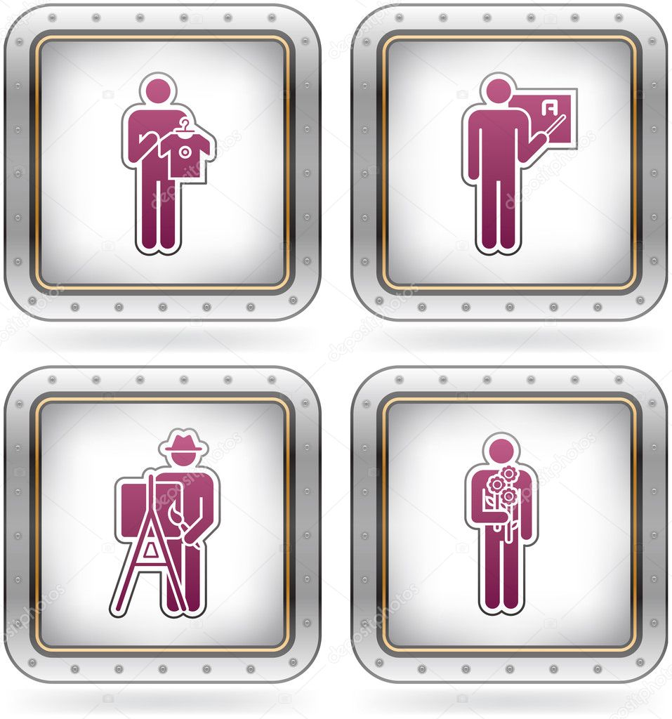 Man at Work icons set (part of the 2 Colors Chrome Icons Set) — Stock Vector #6874889