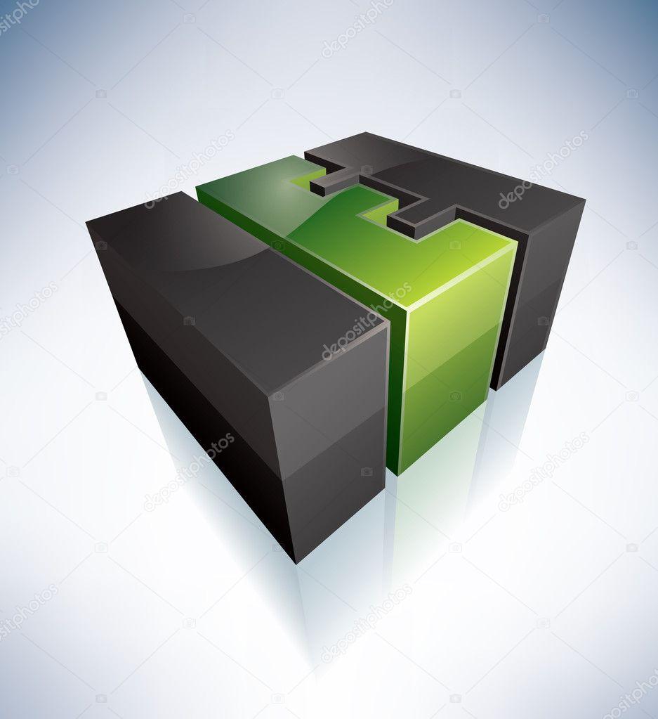 e Letter Logo 3d 3d e Green Logo Letter Part