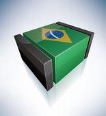 3D flag of Brazil — Stock Vector