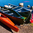 Stock Photo: Colorful canoes
