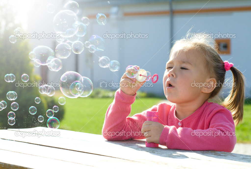 Blowing Soap Blowing Soap Bubbles While
