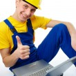 Worker showing good sign — Stockfoto