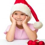linda niña santa sombrero — Foto de Stock