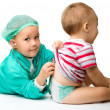 Children are playing doctor with stethoscope — Stock Photo