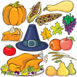 Vettoriale Stock : Thanksgiving Day Icon Set