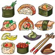 Stock vektor: Sushi, seafood icon set