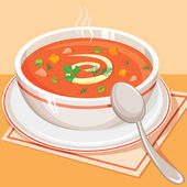 Tomato vegetable soup — Stock Vector