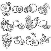 Stiliserade frukt vektor på vit bakgrund — Stockvektor