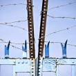Barbed wire-blue door — Stock Photo