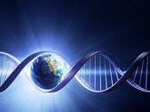 Glowing earth DNA strand — Stock fotografie