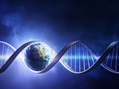 Glowing earth DNA strand — Stock Photo