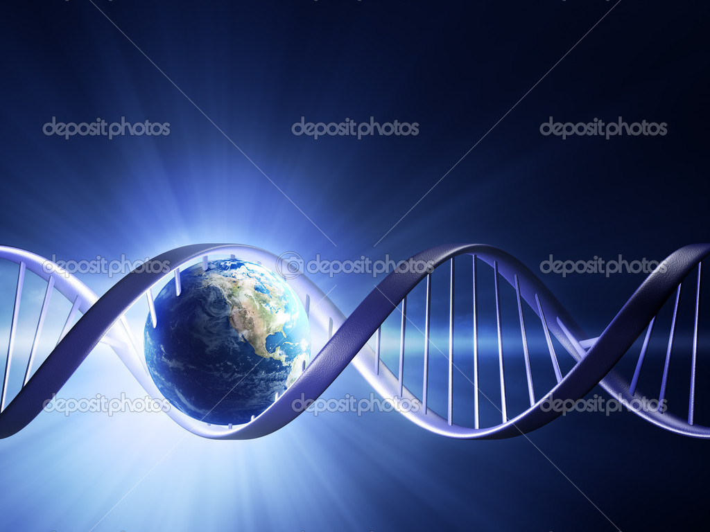 Abstract render of earth inside a glowing DNA strand ( earth uv map from http://visibleearth.nasa.gov ) — Stock Photo #7144407
