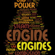 Engine text clouds — Stock Photo