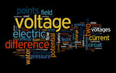 Voltage text clouds — Stock Photo