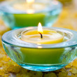 Candles with bath salt — Stock Photo