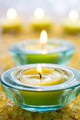 Candles with bath salt — Stock Photo