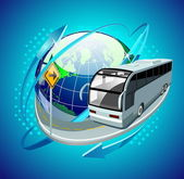 Globe with a bus — Stock Vector
