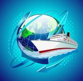 Globe with a ship — Stock Vector