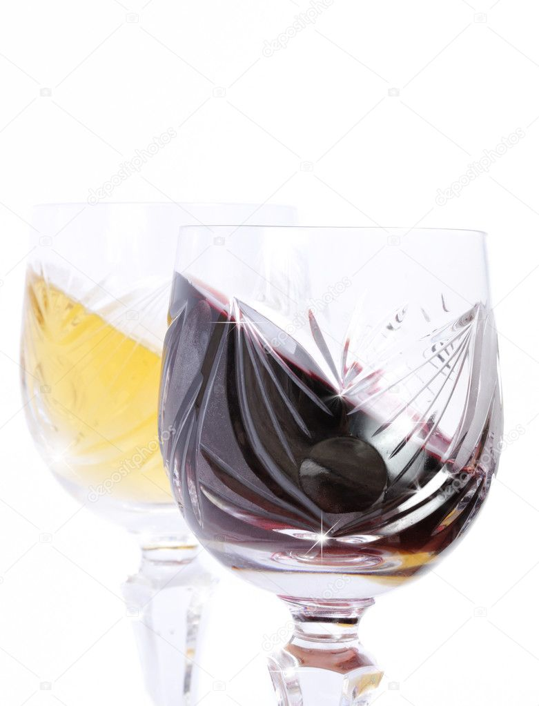 Glasses of red and white wine isolated in white  Stock Photo #6831776