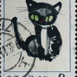 Stamp - ink drawing black cat — Stock Photo #6919072