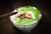 Rice and saute green pea with pork — Stock Photo
