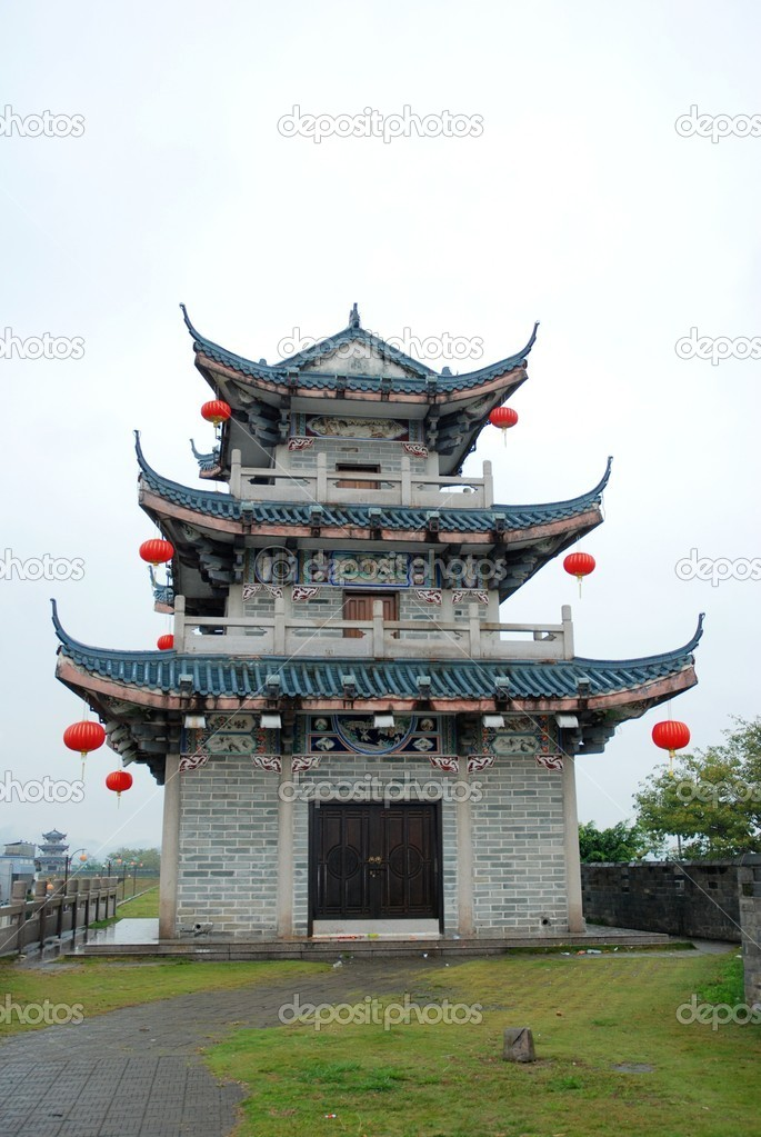Chinese ancient building isolated on white — Stock Photo #6917125