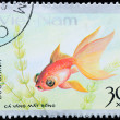 VIETNAM - CIRCA 1980: stamp animal goldfish - Stock Photo