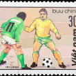 VIETNAM - CIRCA 1980s: stamp sport football game — Stock Photo #6922975