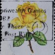 AUSTRALIA stamp shows yellow rose flower - Stock Photo