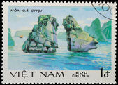 VIETNAM - CIRCA 1980s: stamp - sailing boat on sea channel — Stock Photo