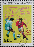 VIETNAM - CIRCA 1982: stamp sport football game — Stock Photo