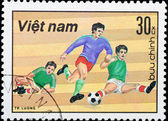 VIETNAM - CIRCA 1980s: stamp sport football game — Foto Stock