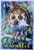 AUSTRALIA stamp shows barking owl — Stock Photo