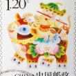 Chinese kid on buffalo stamp — Photo