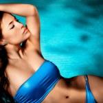Bikini woman by the pool — Stock Photo