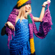 Stock Photo: Womin wool scarfs