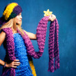 Woman in wool scarfs — Stock Photo